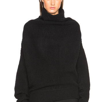 Acne Studios Jacy Drape Rib Sweater in Black | FWRD