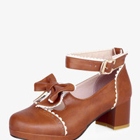 Brown Lolita Bows Heeled Shoes