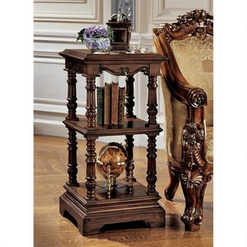 Lord Pimlicoe Etagere Side Table Two Shelves Handcarved 36H