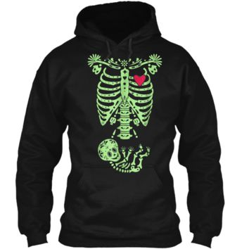Pregnancy Halloween Costume Mexican Day Of The Dead  Pullover Hoodie 8 oz