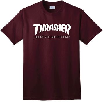 Thrasher Parody Joke T-Shirt Short Sleeve Thrasher Skateboarding Magazine Skater