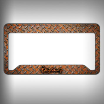 Rust Diamond Plate Custom Licence Plate Frame Holder Personalized Car Accessories