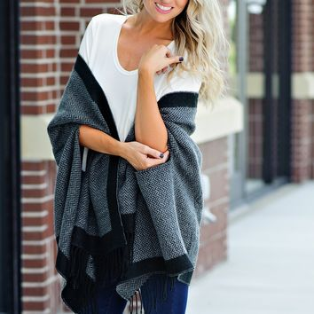 * Stole My Heart Wrap :  Black/Charcoal