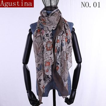 winter woman floral scarf hijab luxury brand womens head plus size bandanas Muslim scarves ponchos capes stoles shawls and wraps