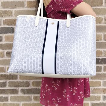 Tory Burch Gemini Link Large Tote White Gemini Link Stripe Kerrington