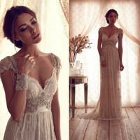 Hot Salling Vestido De Novia 2016  Vintage Wedding Dress Sheer Lace Anna Campbell  Bridal Gown Lace Backless Church Wedding Gown
