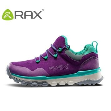 RAX  Women Genuine Leather Hiking Shoes Outdoor Waterproof Warm Boots Breathable Outdoor Sports Jogging Sneakers Men Walking
