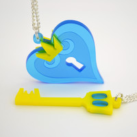 Kingdom Hearts Heart and Keyblade Friendship Necklaces - Acrylic Video Game Jewelry
