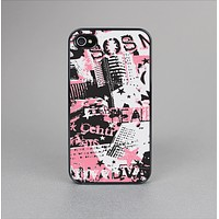 The Pink & Black Abstract Fashion Poster Skin-Sert for the Apple iPhone 4-4s Skin-Sert Case