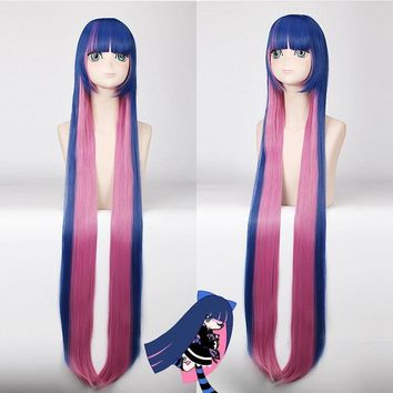 Cool Hot Sale Panty & Stocking with Garterbelt 120cm Long Straight Blue Pink Cosplay Wig for Women Costume Party Cartoon UniversalAT_93_12