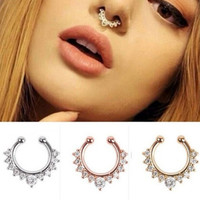 New Fashion 2016 Fancy Titanium Crystal Fake Nose Ring Septum Nose Hoop Ring Piercing Body Jewelry drop shipping
