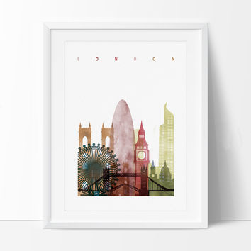 London Skyline, London Watercolor Print, Cities Poster, Wall Art, Watercolor Skyline, London Art, London Wall Hanging , Art Print(197)
