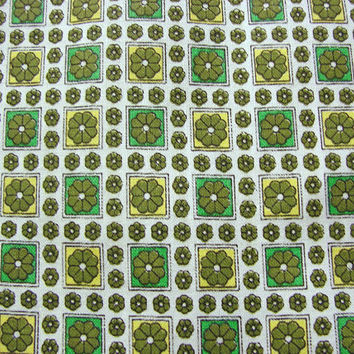 "1950s Cotton Fabric Turquoise Green Floral print 36"" wide"