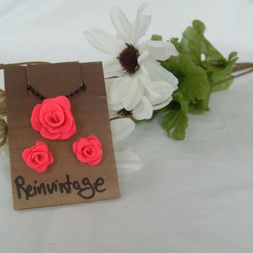 Handmade Hot Pink Rose Earrings with Matching Black Necklace Chain