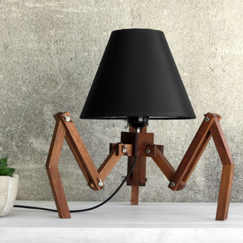Table Lamp, Desk Lamp, Bedside Lamp, Tripod Lamp, Wooden Lighting, Spider Decor, Creative Lamp, Unique Lamp, Designer Lamp, Adjustable Lamp