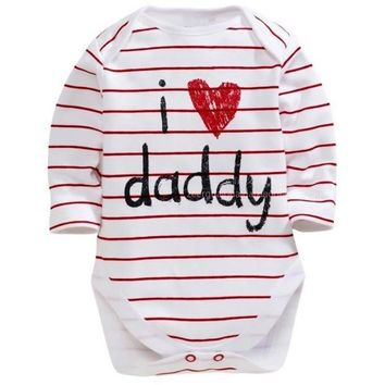 I Heart Daddy/Mommy Printed Baby Romper