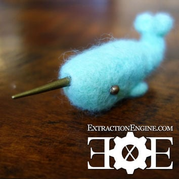Sale- Tiny Felted Super Cute Narwhal