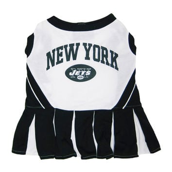 Mirage Pet Products Puppy Dog Cat Costume New York Jets Sports Team Logo Cheer Leading Uniform XS