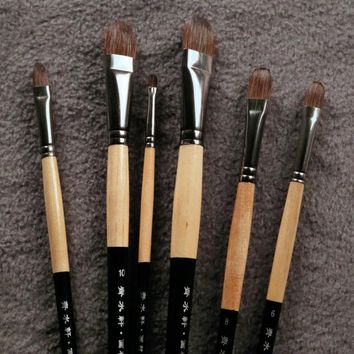 6Pcs/Set Brand Squirrel Hair Paint Brush Smooth And Soft Hair For Gouache,Aquarelle,Oil Painting Art Supplies Brushes For Artist