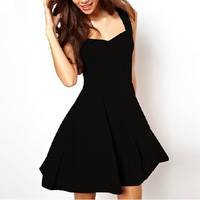 New Fashion Summer Black Elegant Strapless Tank Slim Fitness Casual Dresses = 1931625156