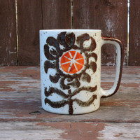 Vintage Coffee Mug with Orange and Brown Flower - Textured Surface with Brown Speckles - Retro Kitchen