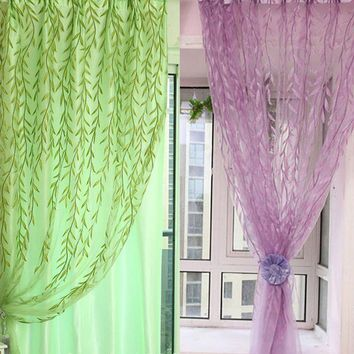 Home Textile Chic Room Willow Pattern Voile Window Curtain Sheer Panel Drapes Scarfs Curtain for bedroom living room