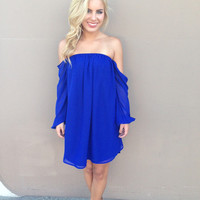 Royal Blue Chiffon Off Shoulder Dress