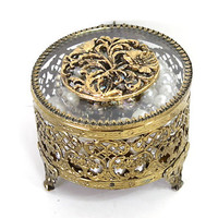 1930s Original Matson Gold Jewelry Box French Ormolu Vanity Filigree Poppy Flower Casket