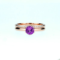 Amethyst solitaire engagement ring sets rose gold ring, diamond wedding, solitaire, curved band, purple engagement, custom, rose gold ring