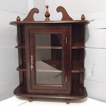 Vintage, Curio Cabinet, Wall Mount or Table Top, Shelves