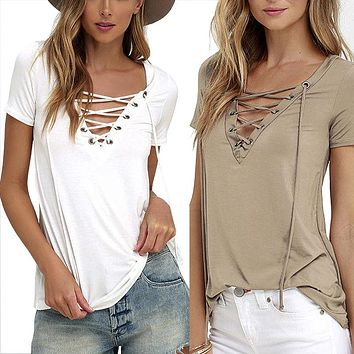 EMIR ROFFER 2017 Summer European Fashion Lace Up T Shirt Women Sexy V Neck Hollow Out Top Casual Basic Female T-shirt Plus Size