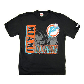 Large Black Vintage T Shirt / 80s Miami Dolphins by Team Rated / Made in USA / 0045TS