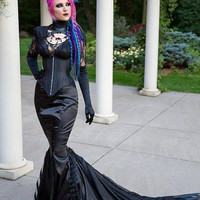 Gothic Mermaid Fetish Gown - Vampire Dark Goth Wedding Distressed Punk- Masquerade Queen - Custom to Order
