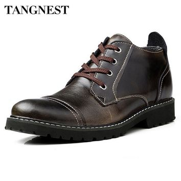Tangnest Men's Leather Fur-Lined Ankle Boots