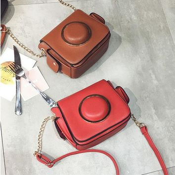 DCCKVQ8 Fashion Retro Camera Bag Metal Chain Single Shoulder Bag Messenger Bag Small Square Bag