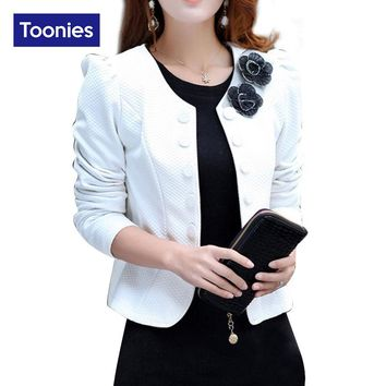 2017 Autumn Long Sleeve Double Breasted Blazer Suit Womens Coat Short Back Bow Blazers Flower Appliques Formal Office Lady Tops
