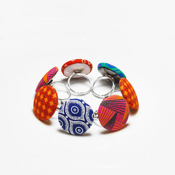 African Ring Set・Fabric Rings・Statement Rings・Tribal Rings・Button Rings・African Fashion・African Print・African Fabric