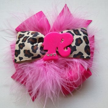 Oh So Sassy Pink and Leopard Barbie Silhoutte  Boutique Hair Bow
