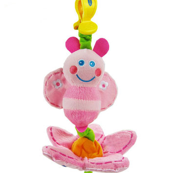 Baby Toys Cute Pink Bee Plush Toy Crib Mobile Bed Hanging Toy Stroller Rattles learning & education Toy for 0-12 Months WJ238