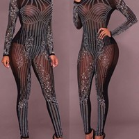 Black Mosaic Rhinestone Grenadine Sparkly Glitter Bodysuit Romper High Waisted Clubwear Long Jumpsuit