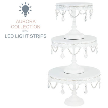 3-Piece Crystal-Draped LED Light Cake Stand Set (White)