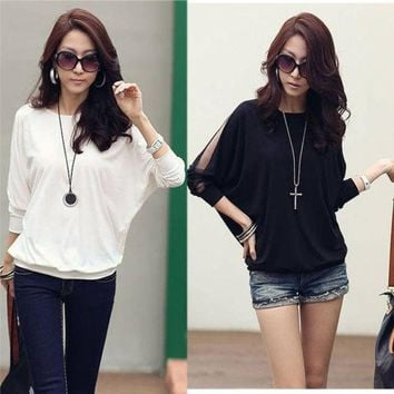 PEAPIX3 Women's Cotton Loose Shirt Top Dolman Batwing Lace Long Sleeve Shirt Blouse for Women Black / White G0129 = 1930549252