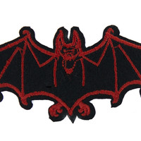 Red Vampire Bat Iron on Applique Gothic Occult Clothing