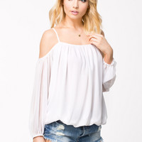NO SHOULDER BLOUSE - White Chiffon Top