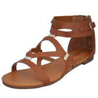 Women's Brown Cutout Flat with Ankle Strap Gladiator Trendy Sandal