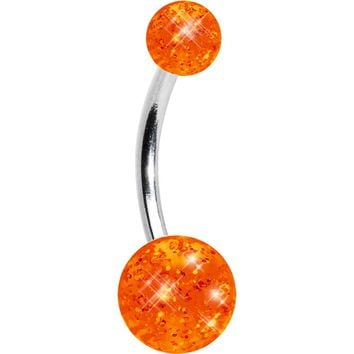 Tangerine Glitter Acrylic Belly Button Ring