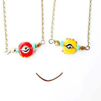 Evil Eye Necklace, Lampwork Bead Pendant, Protection Charm, Halloween Jewelry, Red or Yellow, Dainty Necklace