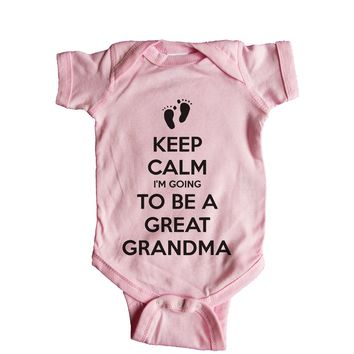 Keep Calm I'm Going To Be A Great Grandma Baby Onesuit