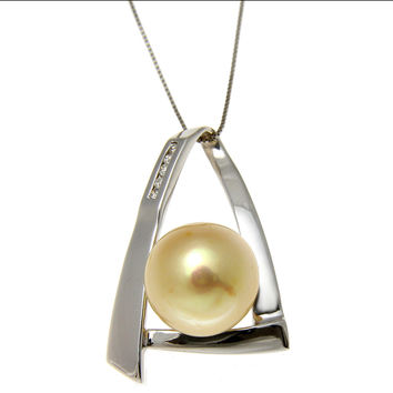 12.22MM SOUTH SEA GOLDEN PEARL DIAMOND SLIDER PENDANT 14K SOLID WHITE GOLD