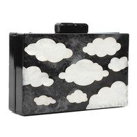 Black Clouds Pattern Box Shape Chain Cluth Bag